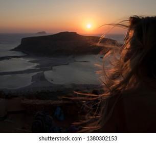 Sunset Elafonisi Crete girl hair