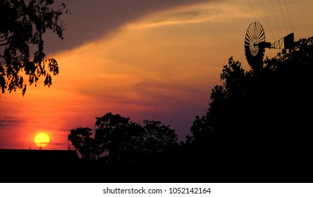 Sunset with electric turbine