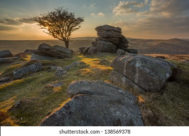 Sunset from Emsworthy Rocks Dartmoor national park Devon Uk
