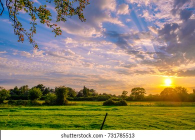 Sunset in English country side near New Forrest National Park, U.K