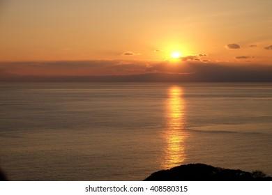 sunset in Enoshima, Japan