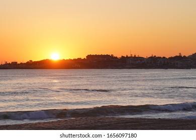 Sunset in Estoril, village of Cascais near of Lisbon. Portugal
