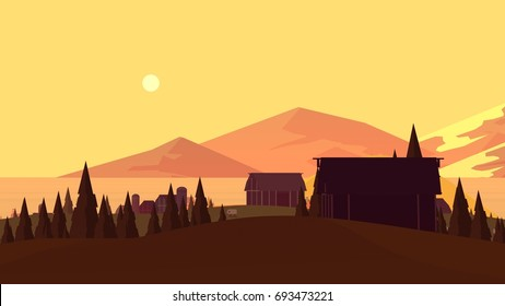 Sunset evening farmland cartoon landscape