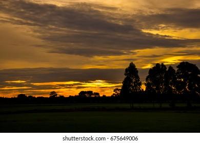 Sunset in the evening light orange-Cloud wave-2