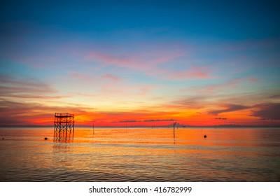 Sunset evening sea