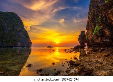Sunset at the famous Maya beach on Koh Phi Phi island in the Krabi province, Thailand
