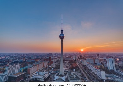Sunset at the famous Television Tower in Berlin, Germany