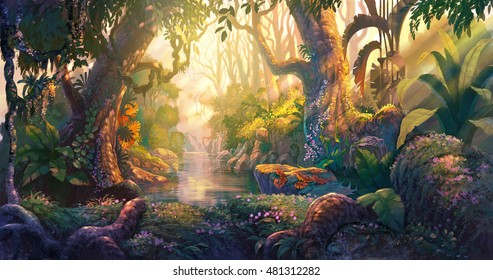 Sunset in fantasy forest painting