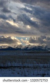 Sunset in February over the Bridger Mountains Montana