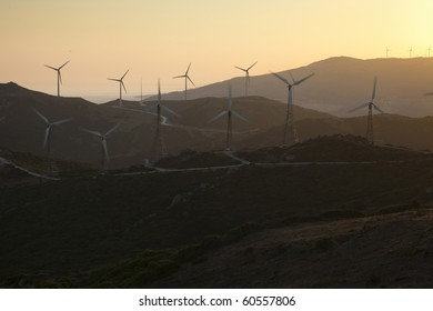 Sunset in a field of wind turbines in southern Spain