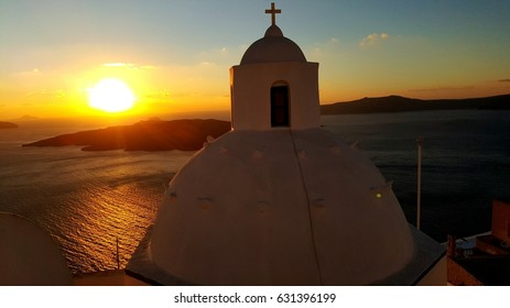Sunset at Fira, Santorini in winter 2016