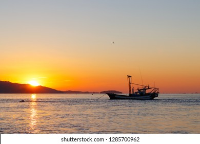 Sunset and fishing boat. Anchored sea fishing boat. korea west sea. Ganghwa-gun, Incheon, Republic of Korea.