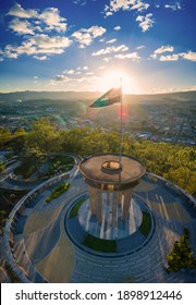Sunset with Flag of Honduras in Tegucigalpa