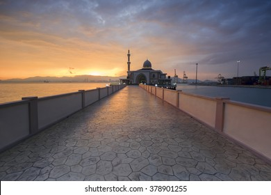 Sunset at the Floating Mosque,Penang Port, Seberang Perai, Malaysia.