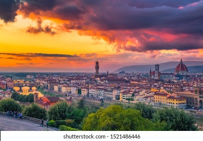 Sunset in Florence in Italy