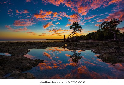 Sunset in the Florida Keys reflecting on a tide pool