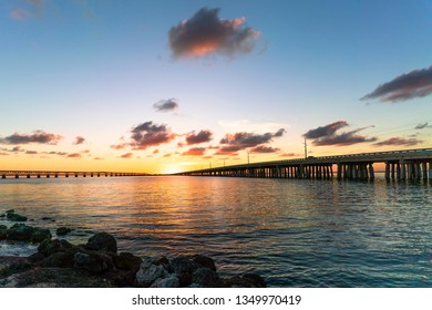 Sunset in the Florida Keys. This is from the campground at Bahia Honda State Park. Highway 1 is to the right and Old Bahia Honda Bridge to the left.