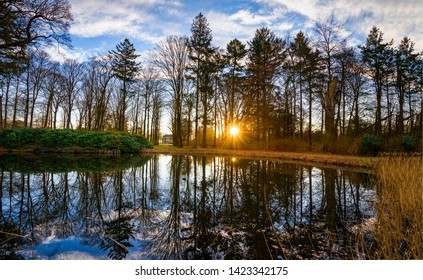 Sunset forest lake trees view. Sunset forest lake reflection. Forrest lake sunset reflection. Sunset forest lake
