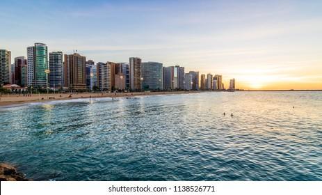 sunset at fortaleza beira mar avenue