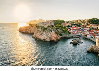 Sunset at Fortress Lovrijenac and Adriatic sea, Dubrovnik, of Croatia