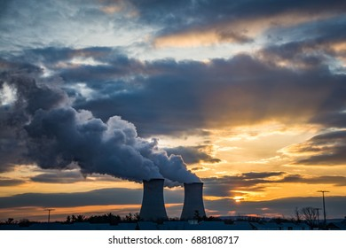 Sunset framed by the nuclear reactors at the Limerick Generating Station in Pottstown, Pennsylvania U.S.A.