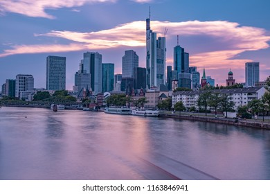 Sunset in Frankfurt over the Main during the Blue Hour