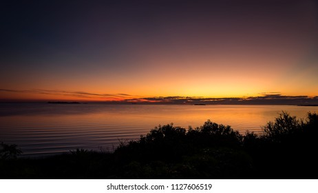 Sunset in front of the estuary in Colonia del Sacramento