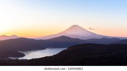 Sunset Fuji and Lake Ashinoko