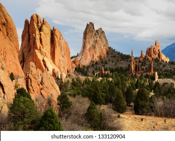 Sunset at Garden of the Gods Rock Formation in Colorado.