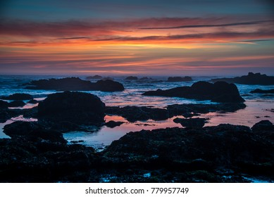 Sunset at Glass Beach in Fort Bragg, California.