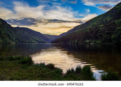 Sunset at Glendalough in County Wicklow, Ireland.