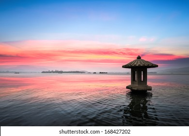 sunset glow in the beautiful hangzhou west lake,China