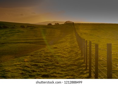 Sunset glow and shadows on the South Downs close to Brighton in East Sussex