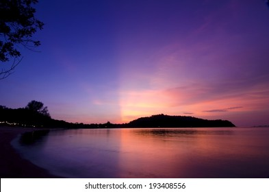 Sunset glowing view while magic hour in Pangkor Island, Malaysia