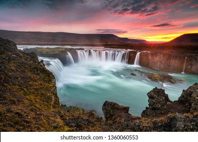 Sunset at Godafoss Waterfalls in Iceland