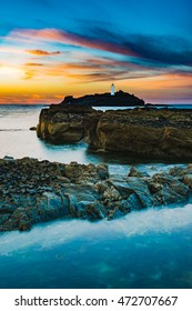 Sunset of Godrevy Lighthouse-St Ives Bay, Cornwall.