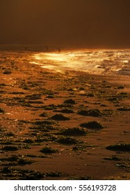 Sunset and golden waves, sun light, tide on beach, Sea of Japan after storm, Primorye, Russia, beautiful landscape