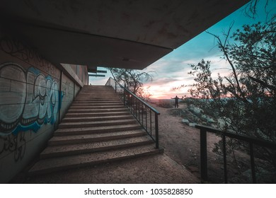 sunset graffiti stairs