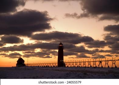 Sunset at Grand Haven Lighthouse, Michigan, USA