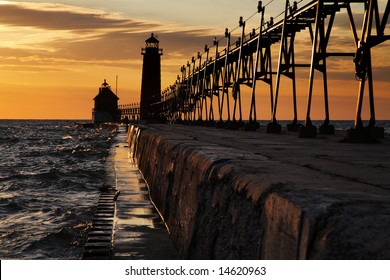 Sunset At The Grand Haven South Pierhead Lighthouse, Michigan