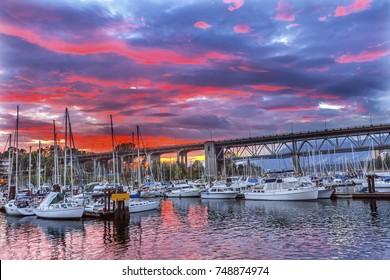 Sunset Granville Island Burrard Street Bridge Yachts Apartment Buildings Vancouver British Columbia Canada