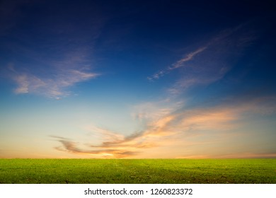 sunset with grass field