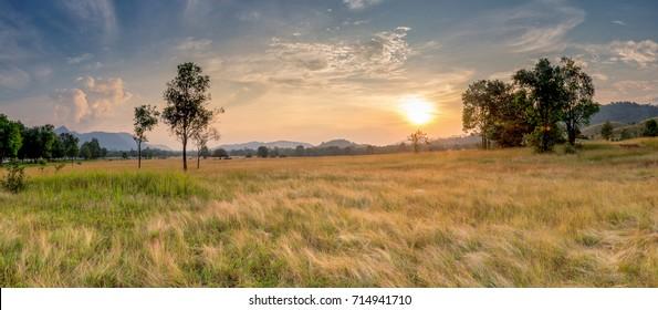 Sunset at grass mountain