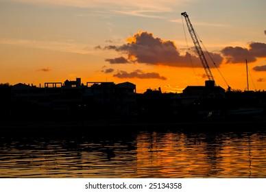 Sunset in Greek harbor