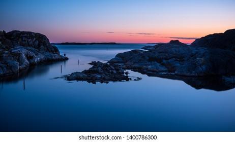Sunset at Grundsund in the Swedish archipelago at Bohuslän.
