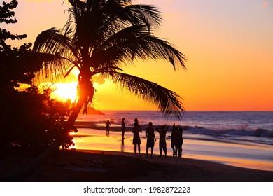 Sunset at Guadeloupe sandy beach. Caribbean vacation landscape. Perle Beach (Plage de la Perle).