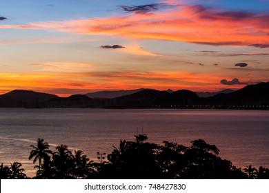 Sunset in Guaruja, Brazil.