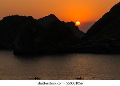 Sunset in Ha Long Bay