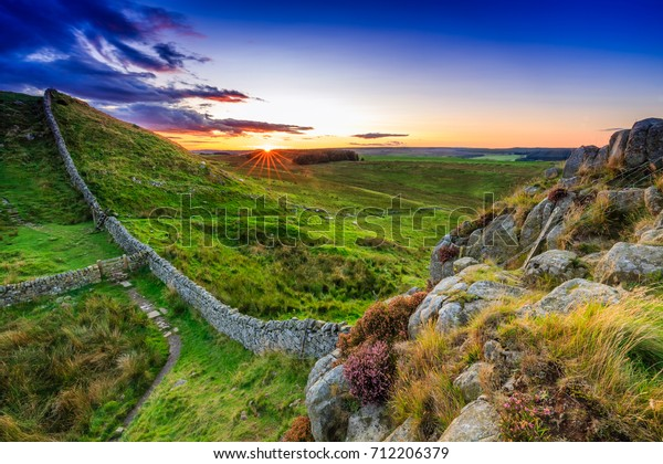Sunset at Hadrian's Wall in Northumberland, England