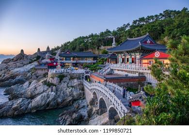 Sunset at Haedongyonggungsa Temple View in Busan South Korea, 25 September 2018 in Busan South Korea
